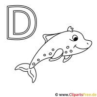 Delfin Ausmalbild   Buchstaben zum Ausdrucken
