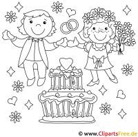 Brautpaar   Ausmalbilder Hochzeit