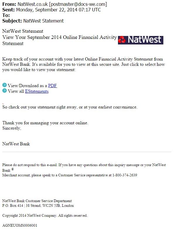 Malware Traffic Analysis Net 2014 09 22 Phishing Email Subject Natwest Statement