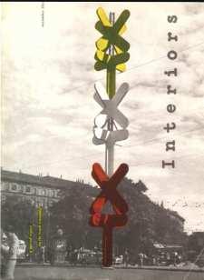 """Lica e Albe Steiner. Copertina della rivista """"Interiors"""" con l'insegna, in Piazza Cadorna a Milano, della X Triennale, progettata da Albe Steiner con Claudio Conte, 1954"""