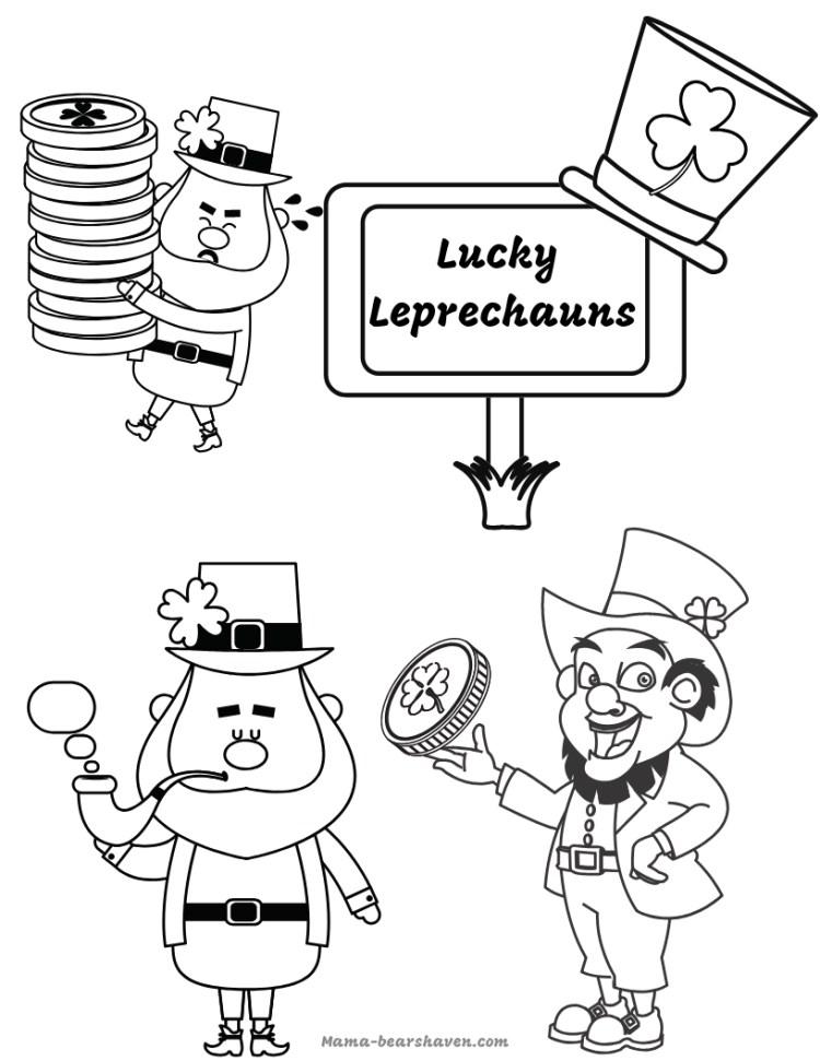 Lucky Leprechauns Colouring Printable