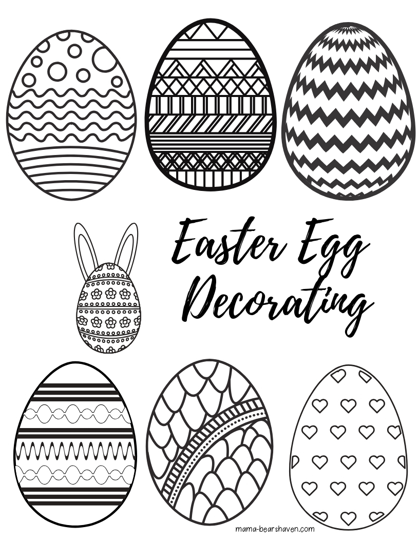 Easter Eggs and Basket Colouring Page Printables