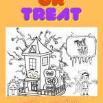 Trick or Treat Colouring Printable – Haunted Halloween