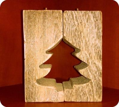 drewniany świcznik choinka