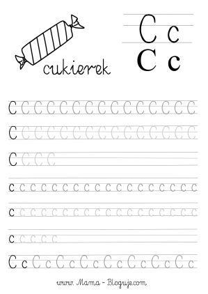 nauka pisania literek - szablon literka C