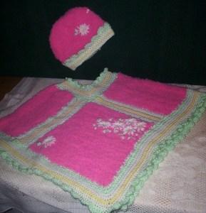 Pink poncho and bonnet set