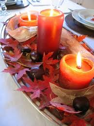 candles in leaves centrepiece