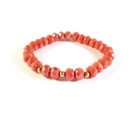 MamaBella AD0013 Vintage Coral armband voor dames is gemaakt van vintage koraaal rode (eerder roze) facet parels gecombineerd met goudkleurige bolletjes