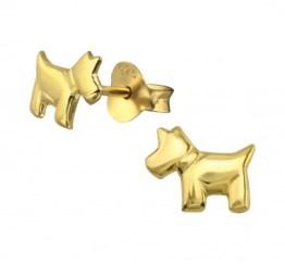 MamaBella OK0010 Dog oorbel is een kinder oorbel, gemaakt van verguld sterling silver of 925 zilver. Het is een oorbel stekertje met een hond