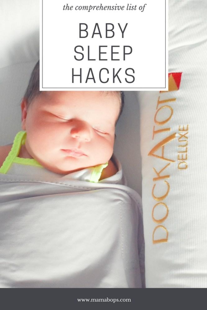 Baby Sleep Hacks: Every parent needs more sleep, am I right? A mom of 2 shares a comprehensive list of baby sleep hacks to get baby to sleep through the night faster. Get Baby to sleep more today!
