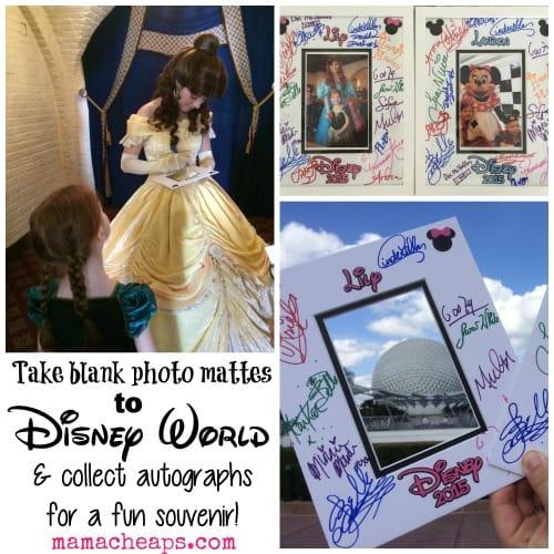 disney world autograph matte souvenir collage