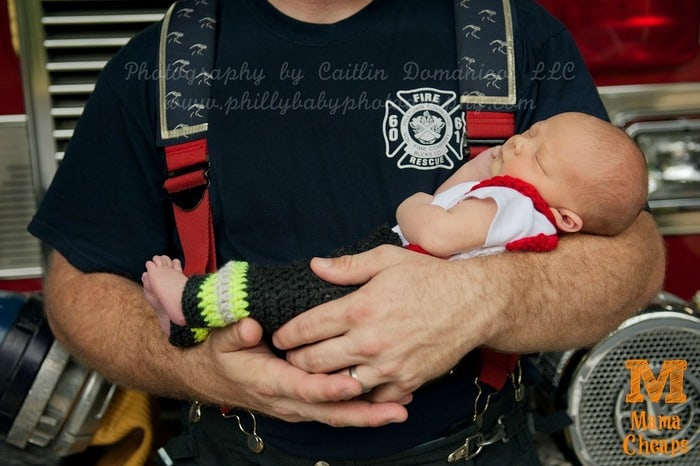 newborn baby fire truck photography
