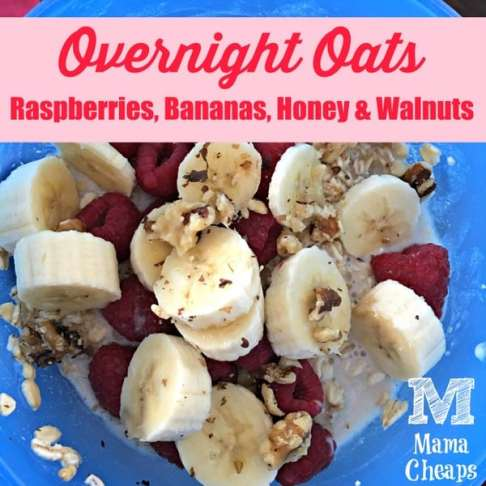 Overnight Oats Berries Banana Honey Walnuts