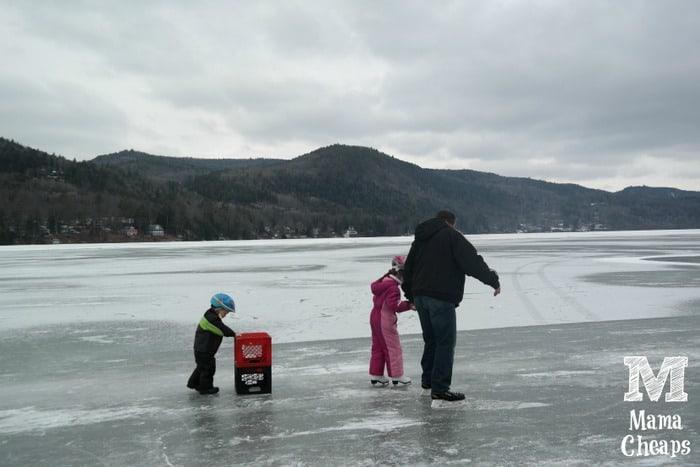 Family Skating on Lake Morey