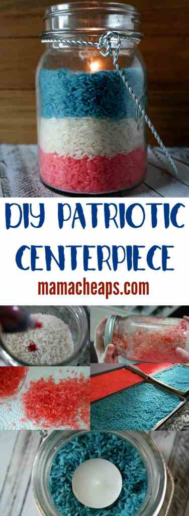 USA Patriotic Centerpiece with Rice