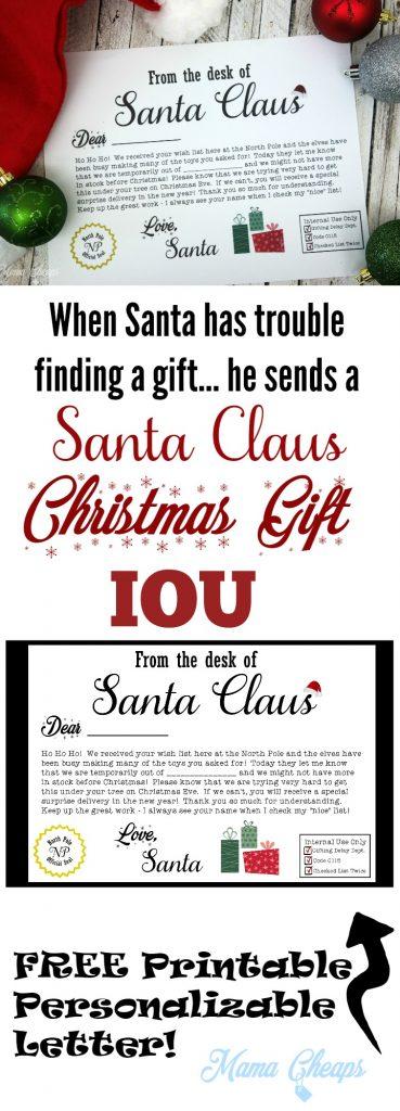 FREE Santa Claus Christmas Present IOU Printable Letter | Mama Cheaps
