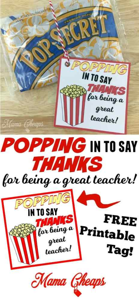 Popcorn Theme Teacher Gift Idea