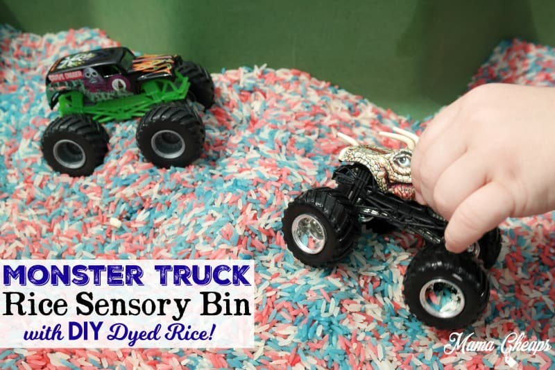 Monster Truck Rice Sensory Bin