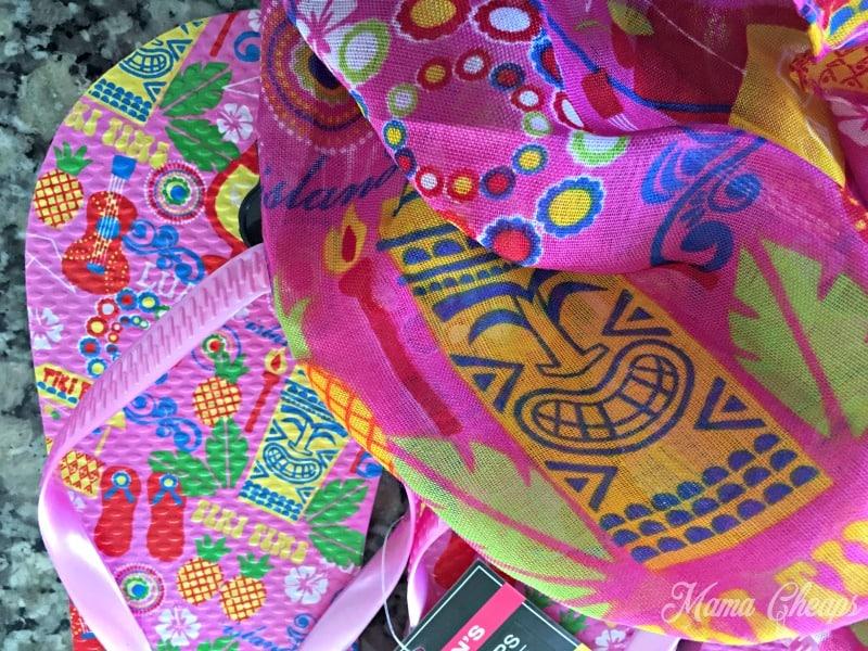 Pink Tiki Flip Flops and Scarf