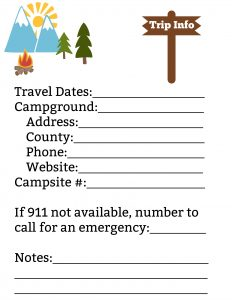 Camping Trip Info Page