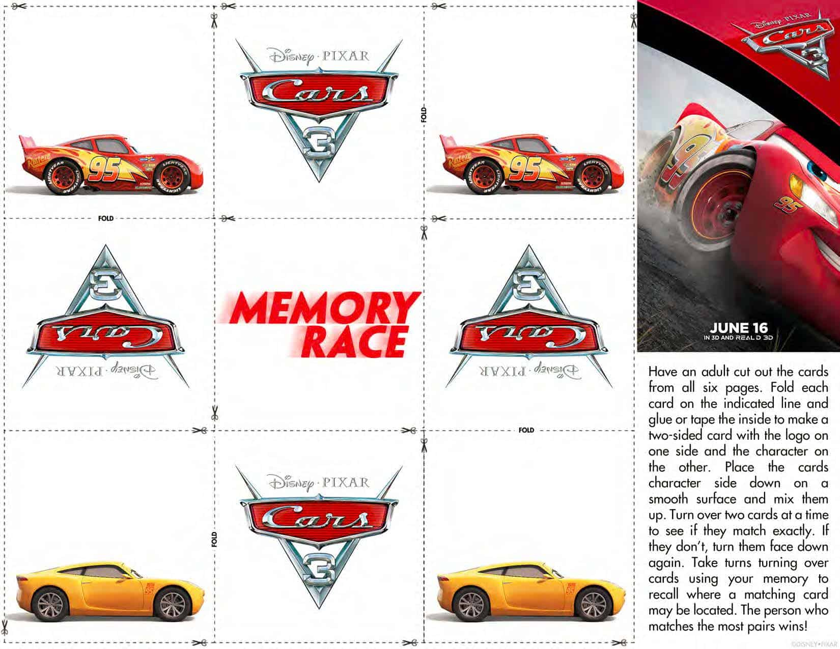 FREE Cars 3 Printable Coloring Pages & Activity Sheets