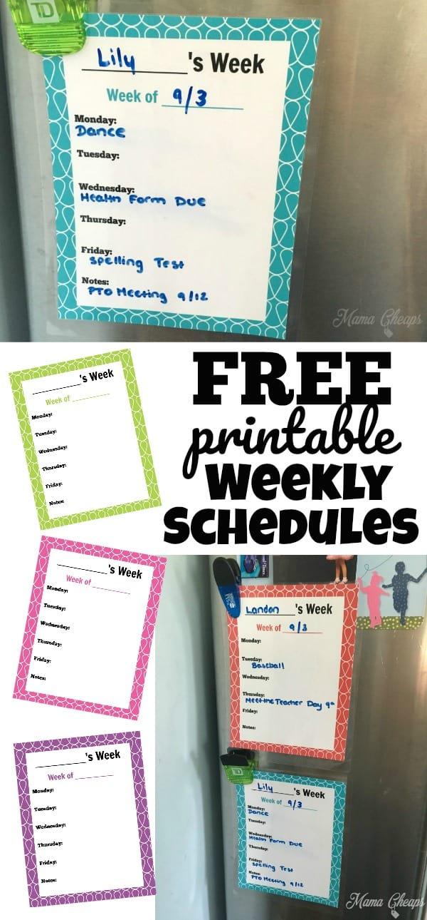 printable week schedule