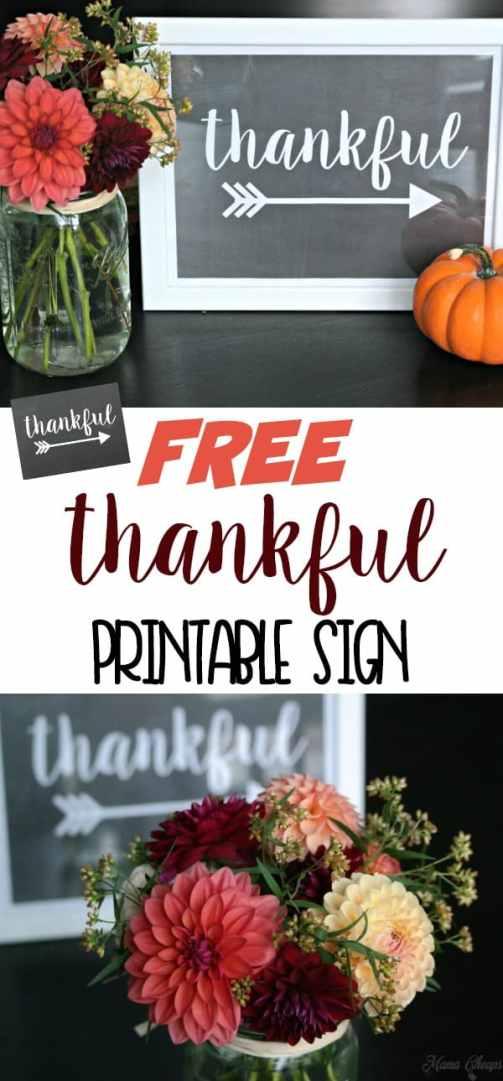 Thankful Free Printable Sign