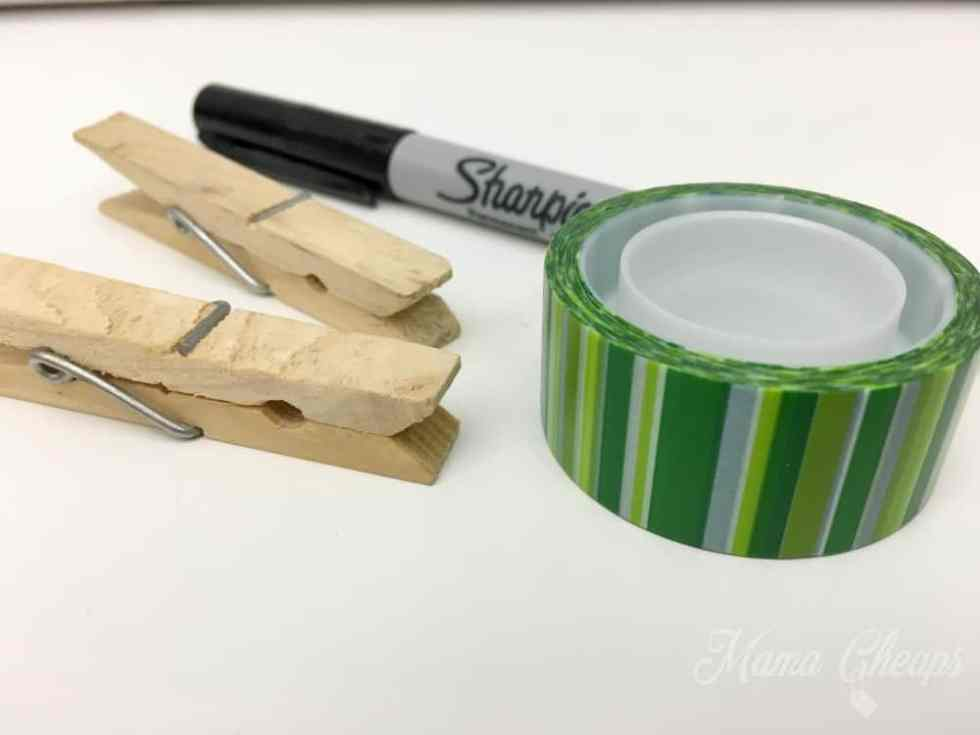 Clothespins Sharpie Christmas Tape