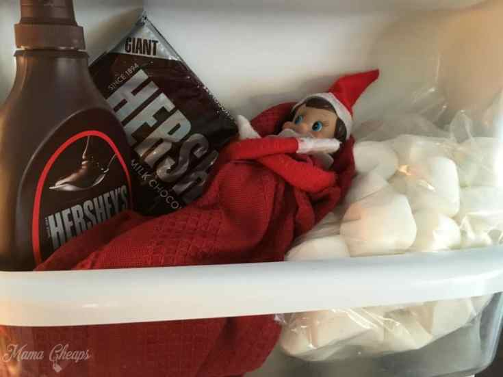 Elf in Fridge on Marshmallows