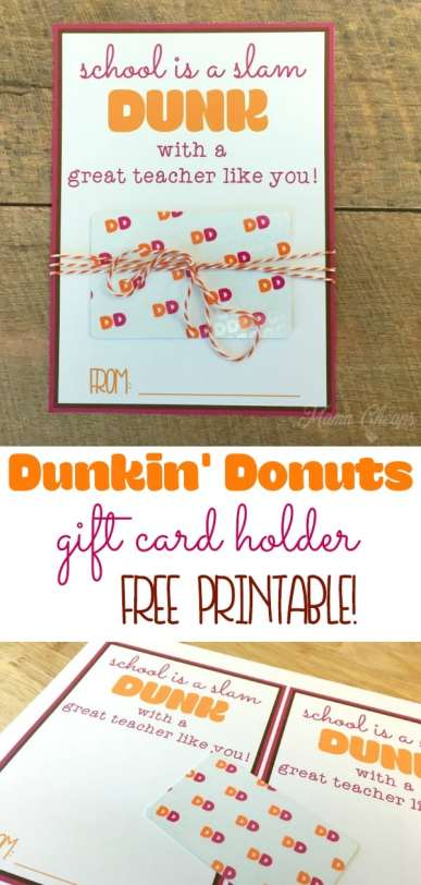 Dunkin Donuts printable gift card holder