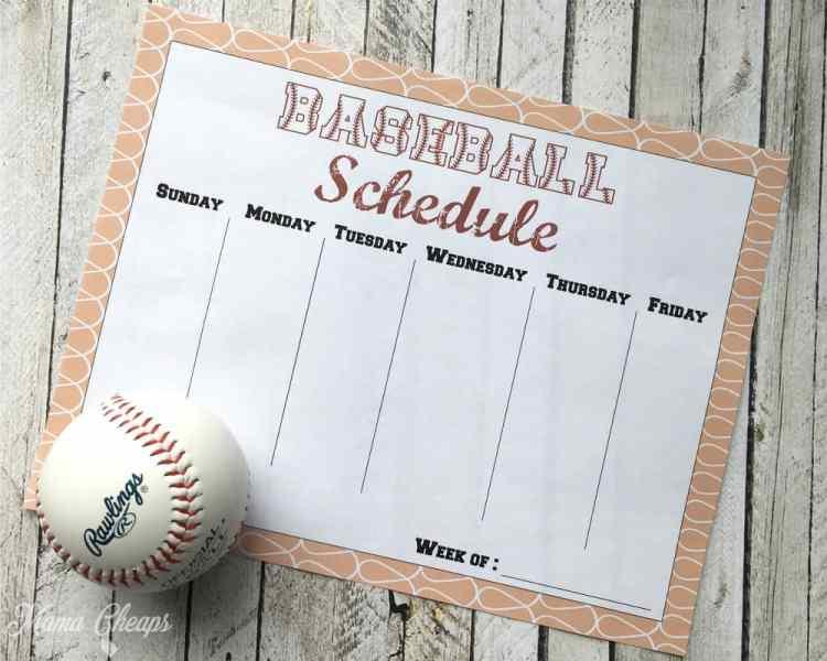 Printable Baseball Schedule