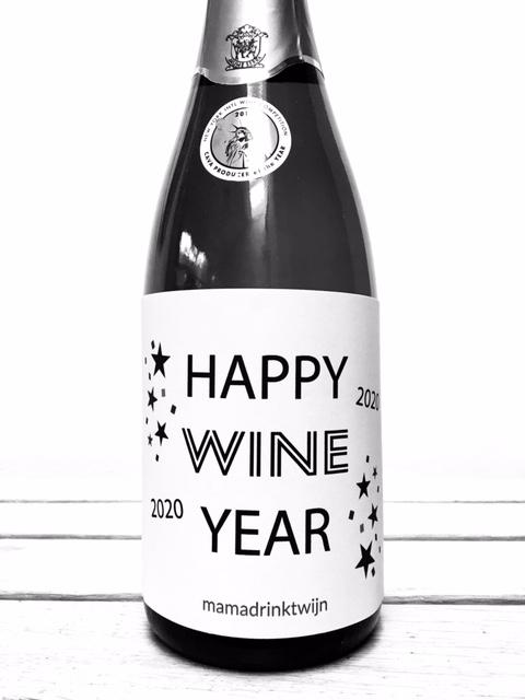 Wijnetiket Happy Wine Year, ideaal en origineel cadeau voor Oud en Nieuw