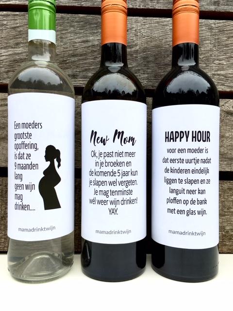 Wijnetiketten voor moeders, over zwangerschap, geboorte, moeder zijn. Origineel kraamcadeau of moederdag cadeau