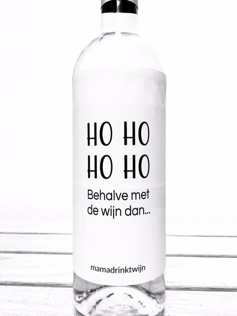Ho Ho Ho behalve met de wijn dan, ludiek wijnetiket voor de kerstdagen