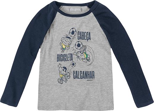 Camiseta Infantil Menino com Mangas Raglan Turma da Mônica e Hering Kids - R$49,99