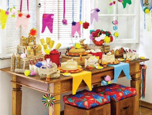 festa junina decoração mesa