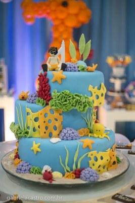 bolo de aniversário fundo do mar