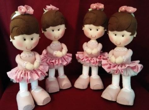 Bonecas bailarinas em feltro e tecido para festa bailarina