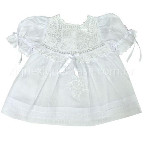 Vestido de bebê com renda renascença para batizado