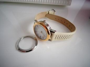montre argent-doré rose bracelet crème