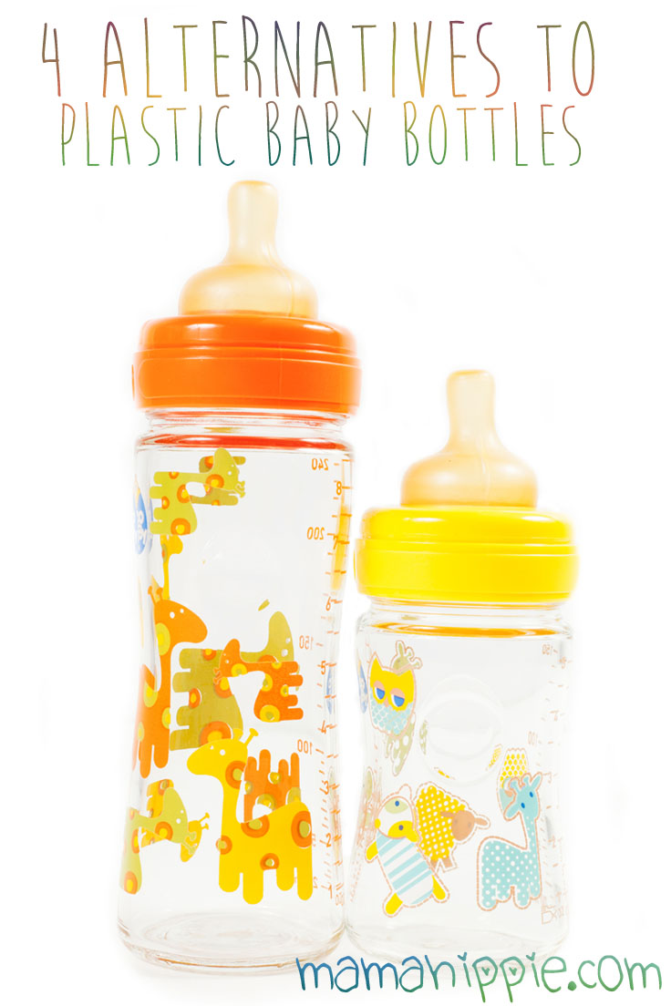2 plastic baby bottles are in the foreground. The bottles are decorated with orange and yellow bears. Text overlay says 4 Alternatives to Plastic Baby Bottles.