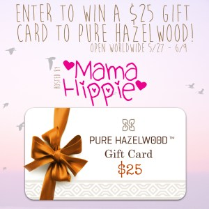 Enter to win a $25 gift card to Pure Hazelwood. Open worldwide from 5/27-6/9. Pure hazelwood makes jewelry and personal care products from natural hazelwood. Great for inflammation, teething babies & toddlers, skin conditions like eczema and psoriasis and so much more!