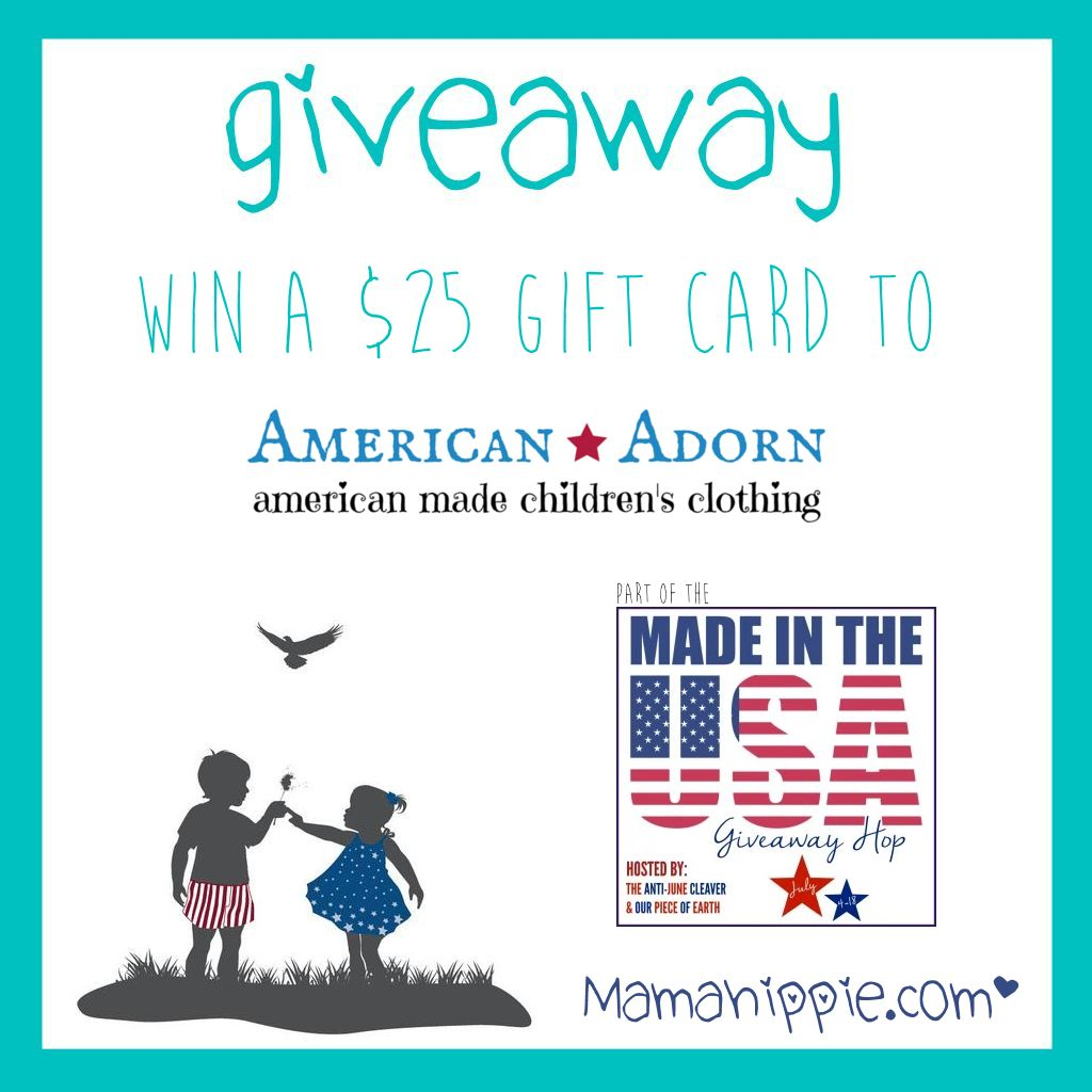 Win a $25 giftcard to American Adorn, an online children's boutique specializing in American Made clothing for children newborn to children 6X. Super cute clothing, both affordable and high end, with organic options.