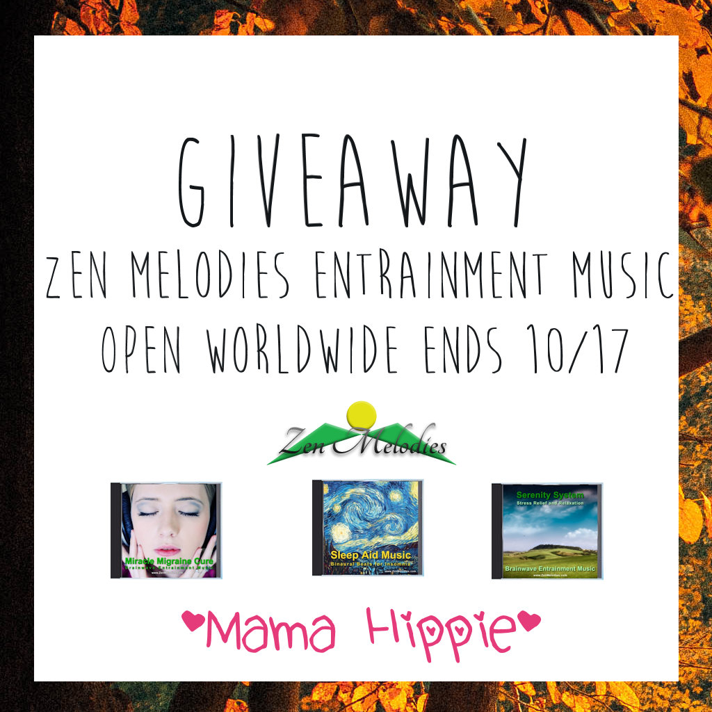 Enter to win 2 free entrainment music titles from Zen Melodies. Great for destressing, relaxing, meditating or sleeping! Open 10/3-10/17/16.