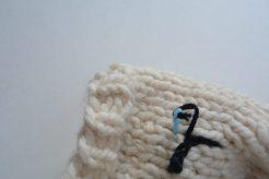 Use tapestry needle for eyelashes