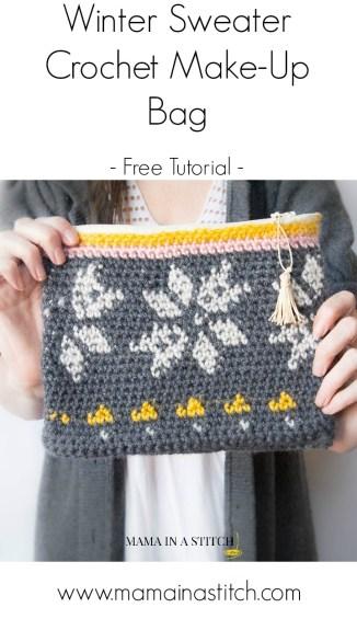 Pretty free crochet zipper bag tutorial