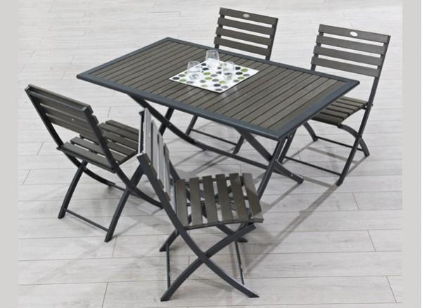 Table De Jardin Bois Gris Salon De Jardin Metal Canaries ...