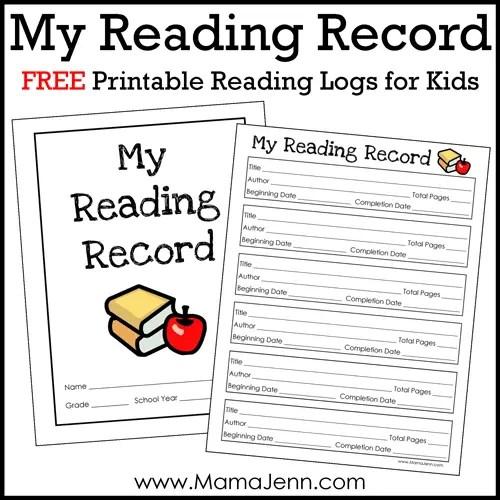 FREE Printable Reading Log for Kids