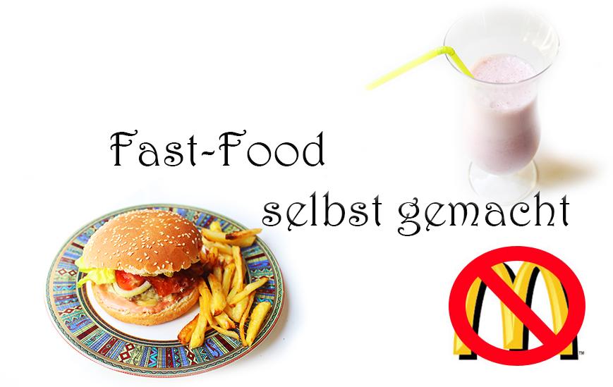 Fast food selbst gemacht burger pommes milchshake milkshake