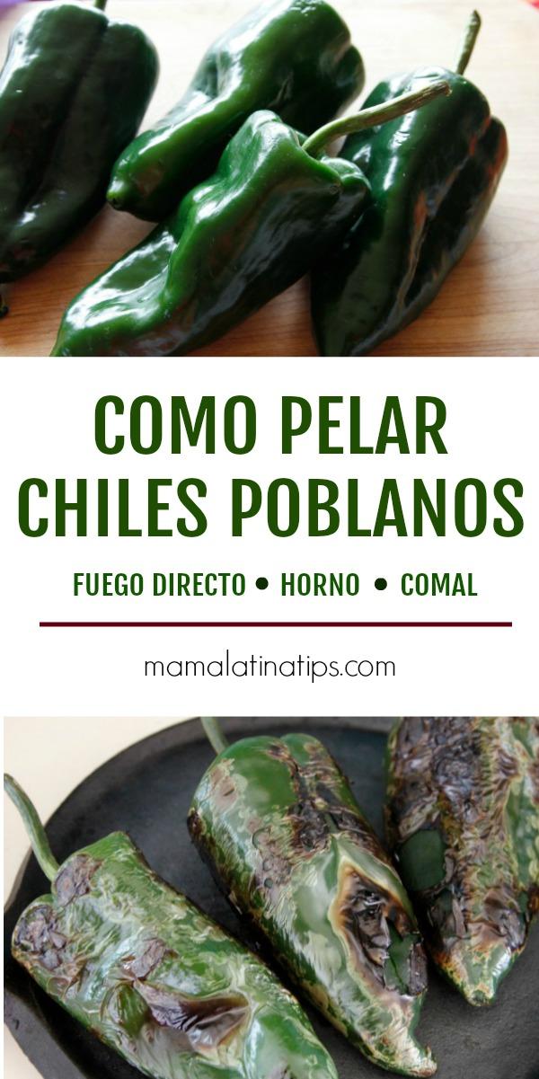 Como pelar chiles poblanos, tanto si tienes estufa de gas o eléctrica. #comidamexicana #chilespoblanos